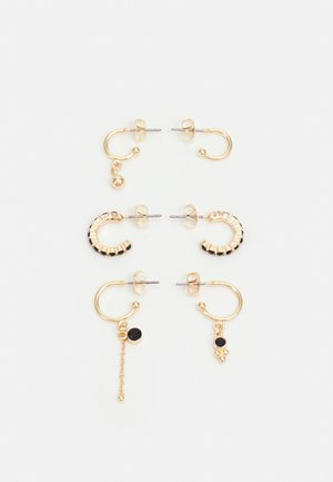 PCZAHIDA EARRINGS 3 PACK - Oorbellen - gold-coloured/black