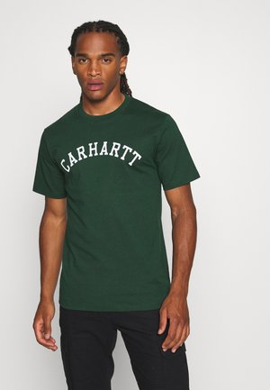 UNIVERSITY  - Print T-shirt - bottle green/white