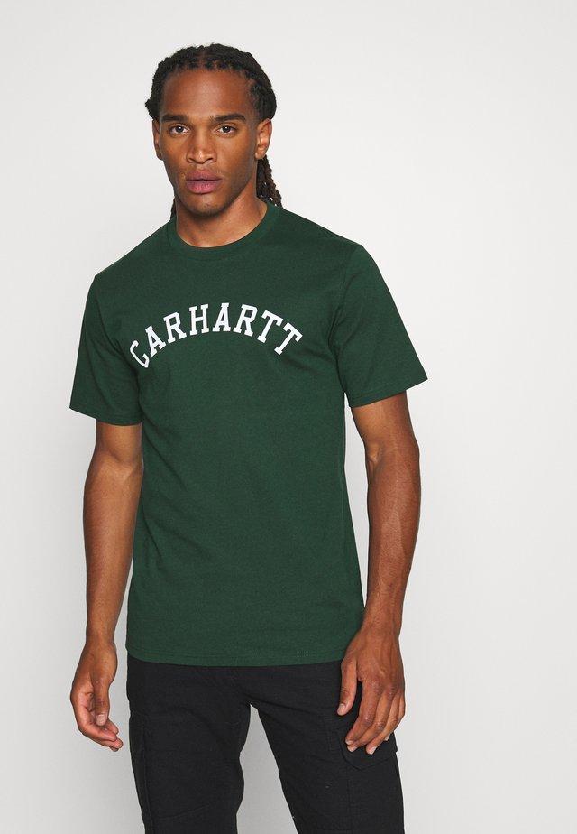 UNIVERSITY  - T-shirts med print - bottle green/white