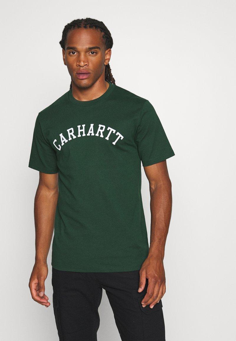 Carhartt WIP - UNIVERSITY  - Print T-shirt - bottle green/white