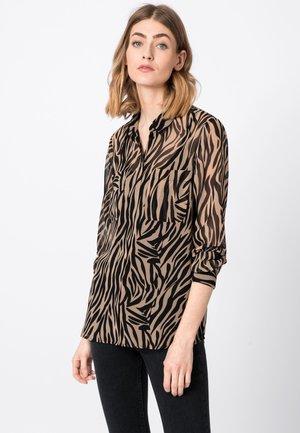 MIT ZEBRAPRINT - Button-down blouse - camel