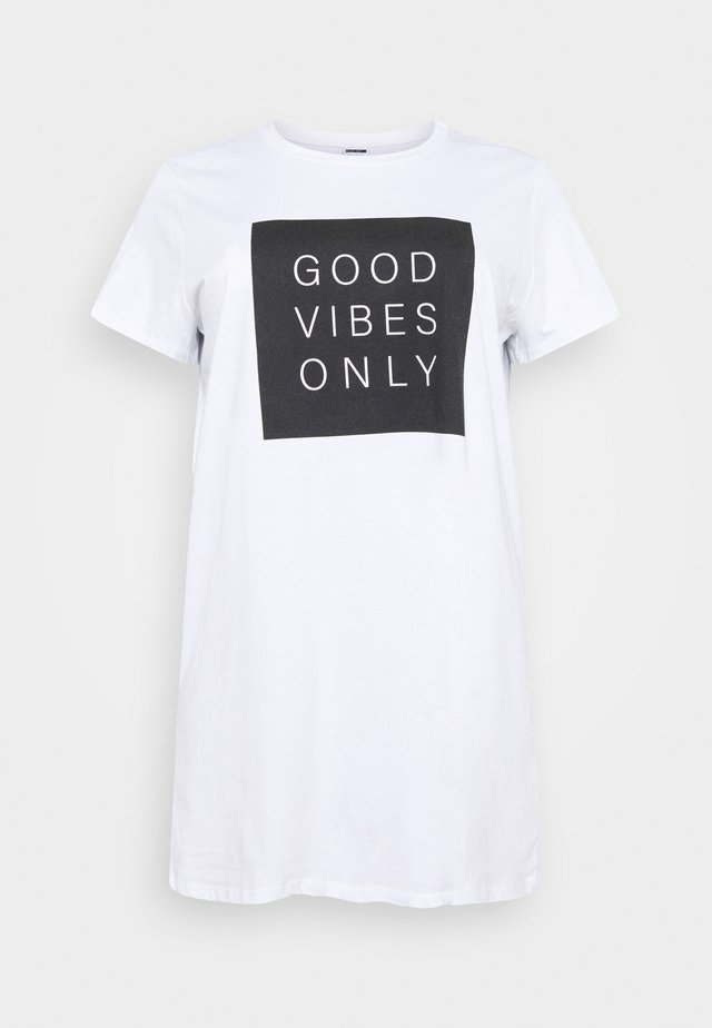NMZODIAC SLOGAN - T-Shirt print - bright white