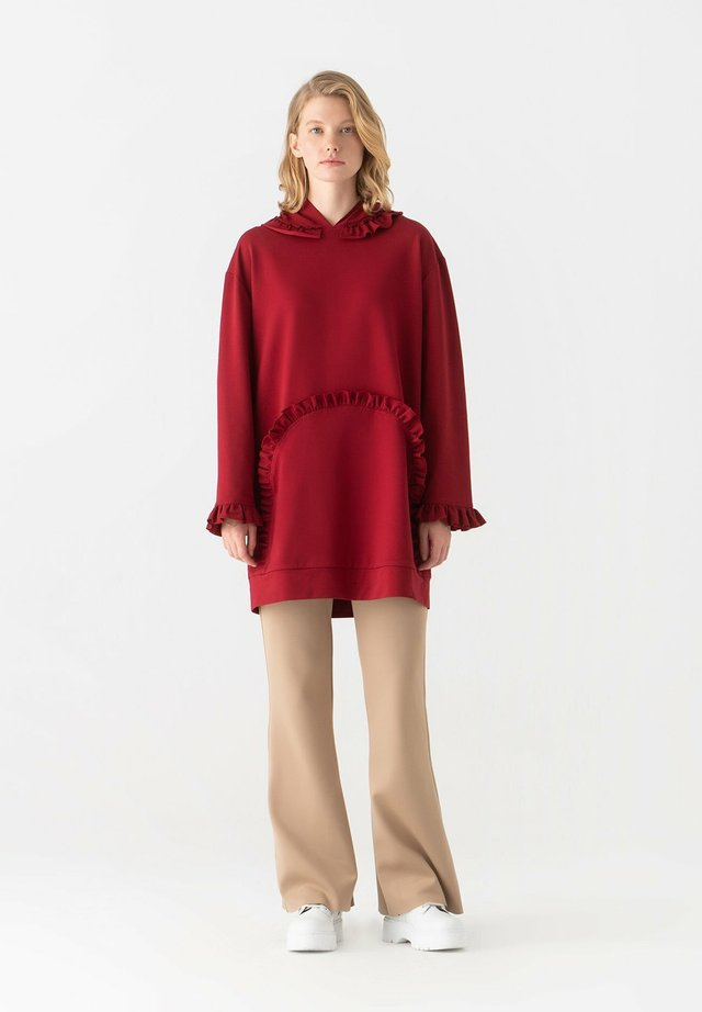 FRILLED - Hoodie - claret red