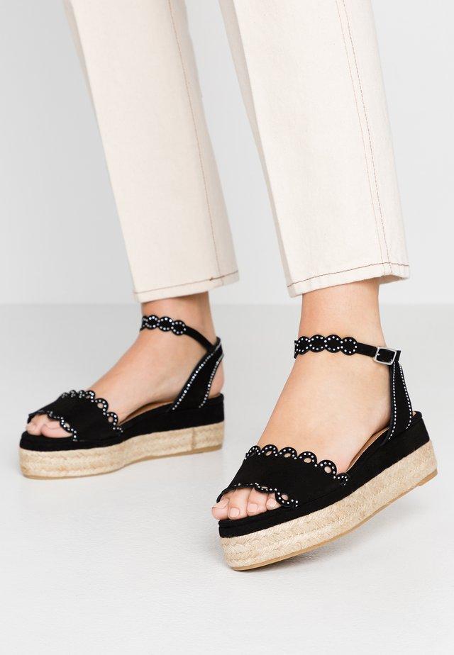 WANA - Korkeakorkoiset sandaalit - black