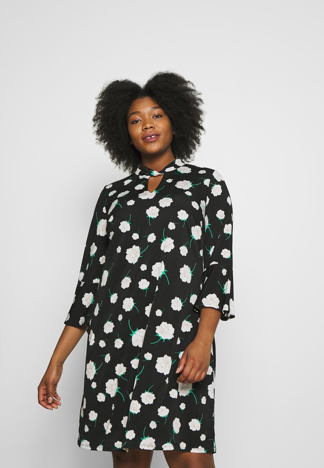 NEUTRAL FLORAL TWIST NECK DRESS - Jerseyjurk - black