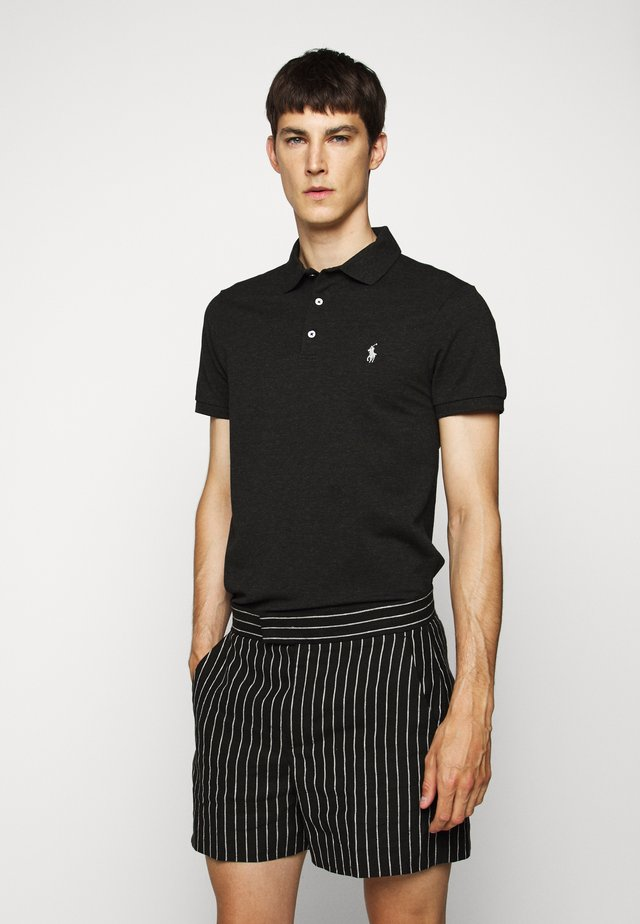 SLIM FIT MODEL - Polo shirt - black marl heather