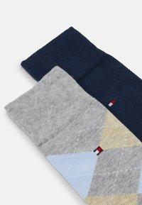 Tommy Hilfiger - MEN SOCK CHECK 2 PACK - Ponožky - light grey melange/dark blue - 1