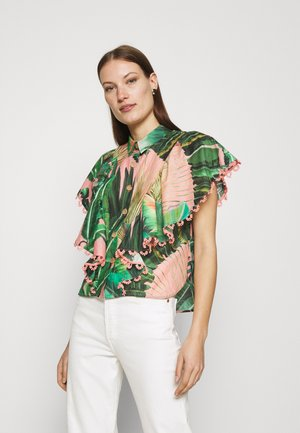 AMZONIA FOREST FRILLED SLEEVES SHIRT - Button-down blouse - multi