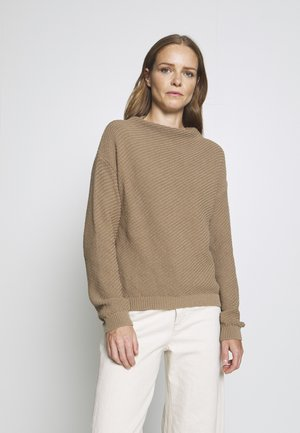 Diagonal jumper with grown on collar - Strickpullover - dark beige