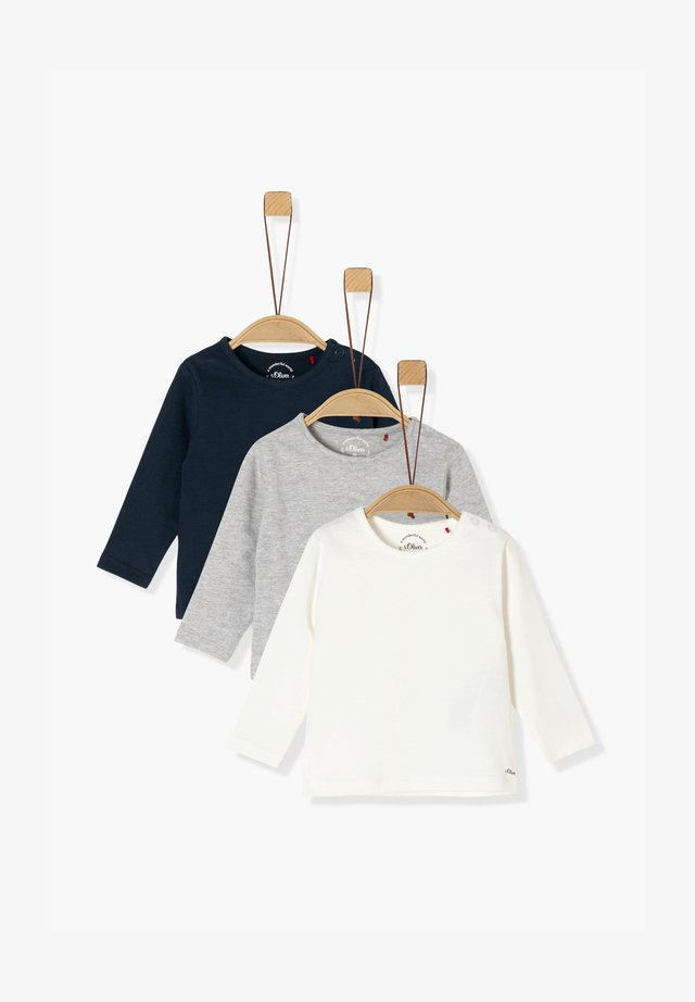 3ER-PACK - Longsleeve - navy/grey/cream