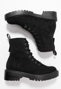 ONLY SHOES - BOLD LACEUP BOOTIE  - Botki na platformie - black - 3