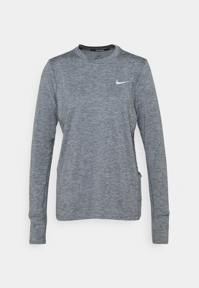 Nike Performance - W NK ELEMENT  - Langærmede T-shirts - smoke grey/lightt smoke grey/heathre/silver