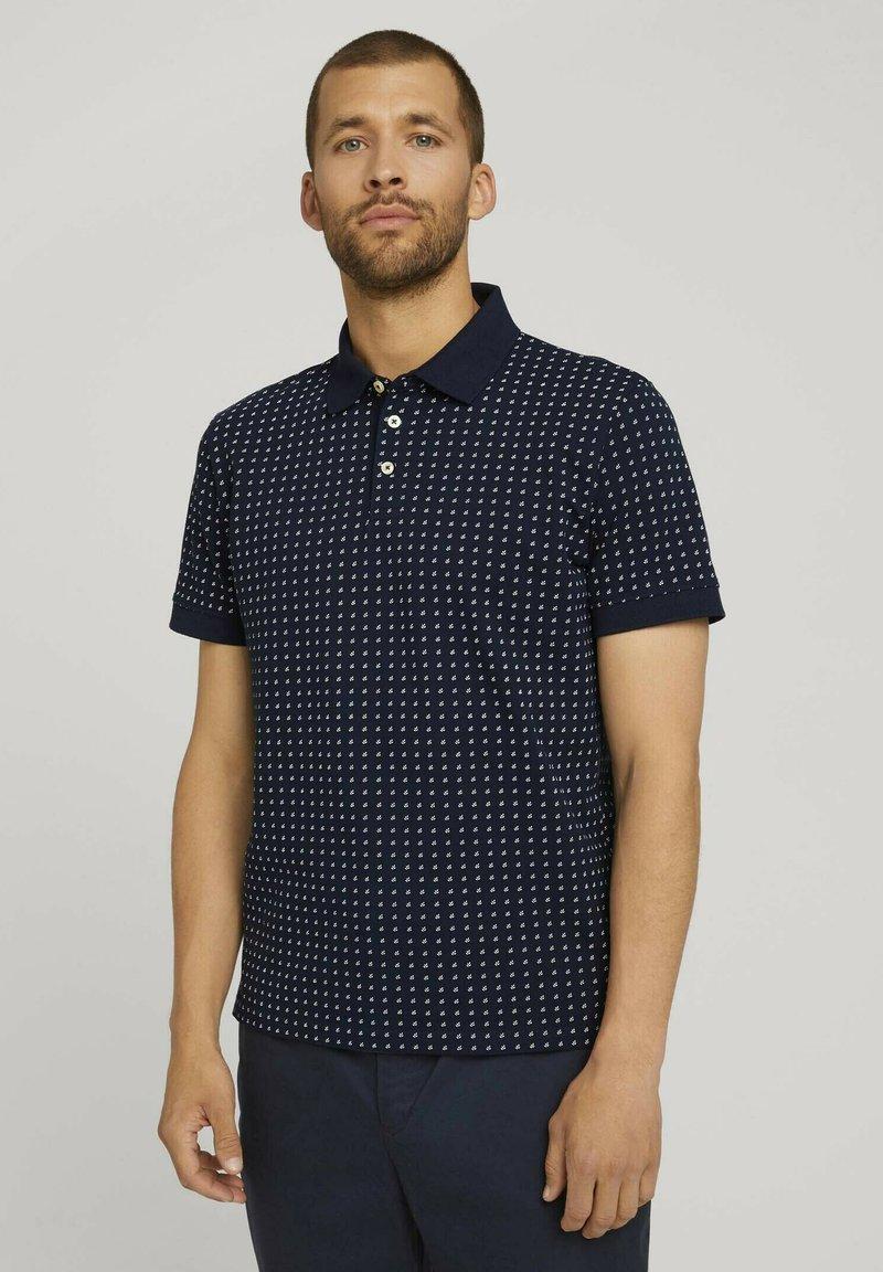 TOM TAILOR - Polo shirt - navy white minimal design