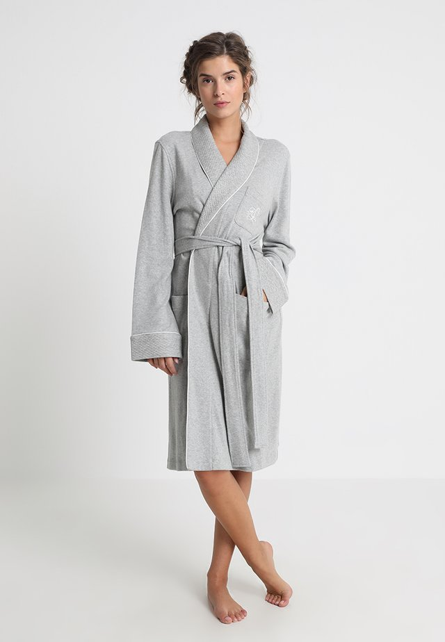 ESSENTIALS COLLAR ROBE - Badjas - heather grey