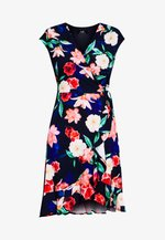 ELECTRIC FLORAL RUFFLE WRAP DRESS - Jersey dress - ink