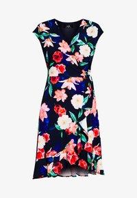 Wallis - ELECTRIC FLORAL RUFFLE WRAP DRESS - Jersey dress - ink - 5