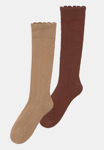 TRAFORATO 2 PACK UNISEX - Knee high socks - camel/mahagoni