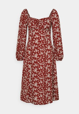 MILKMAID SHIRRED BUST MIDI FLORAL - Kjole - red