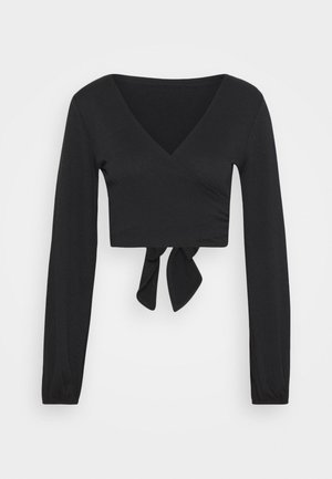 JUDE TIE FRONT LONG SLEEVE - Long sleeved top - black