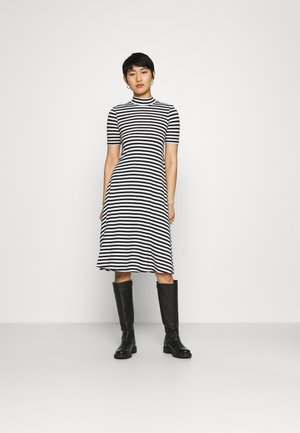 Short sleeves flared basic midi dress - Žerzejové šaty - black/offwhite