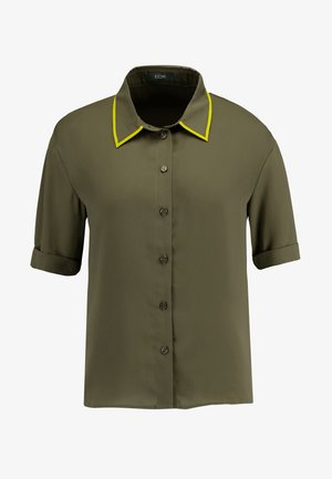 SHORTSLEEVE BOXY WITH PIPING - Chemisier - olive night