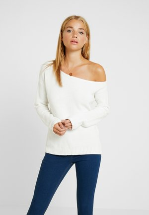 HALF CARDIGAN STITCH CARMEN - Sweter - off white