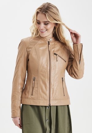 LUXE - Leather jacket - tile sand