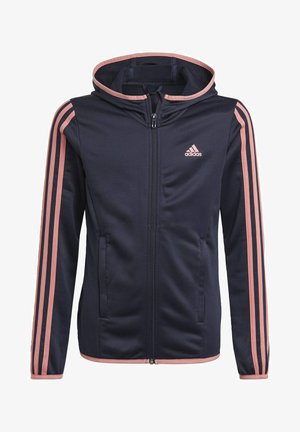 ADIDAS DESIGNED TO MOVE 3-STRIPES FULL-ZIP HOODIE - Sudadera con cremallera - blue