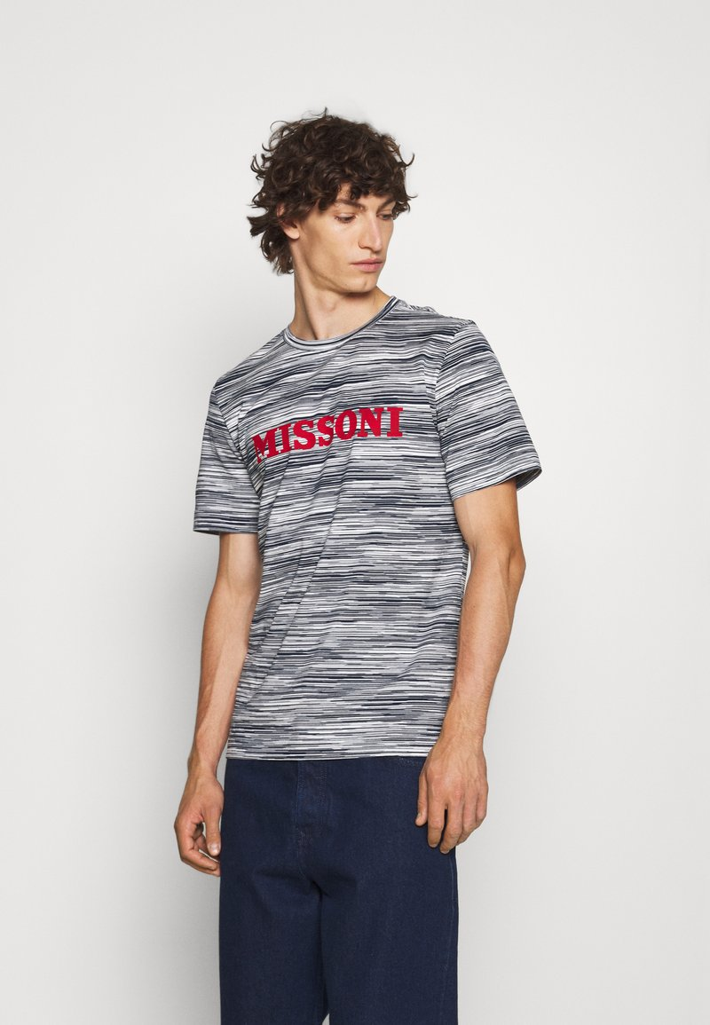 Missoni - SHORT SLEEVE - T-shirt print - bianco/blu