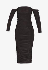 Missguided Petite - BARDOT SLINKY RUCHED MIDAXI DRESS - Koktejlové šaty/ šaty na párty - black - 3