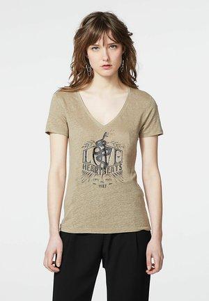 Print T-shirt - kaki bleach