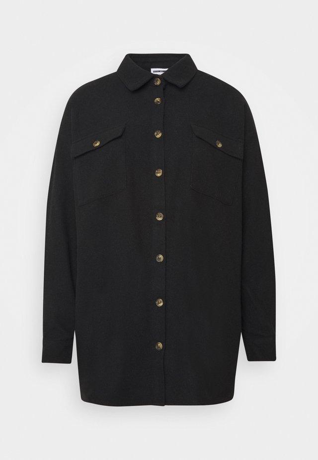 NMFLANNY LONG SHACKET - Button-down blouse - black