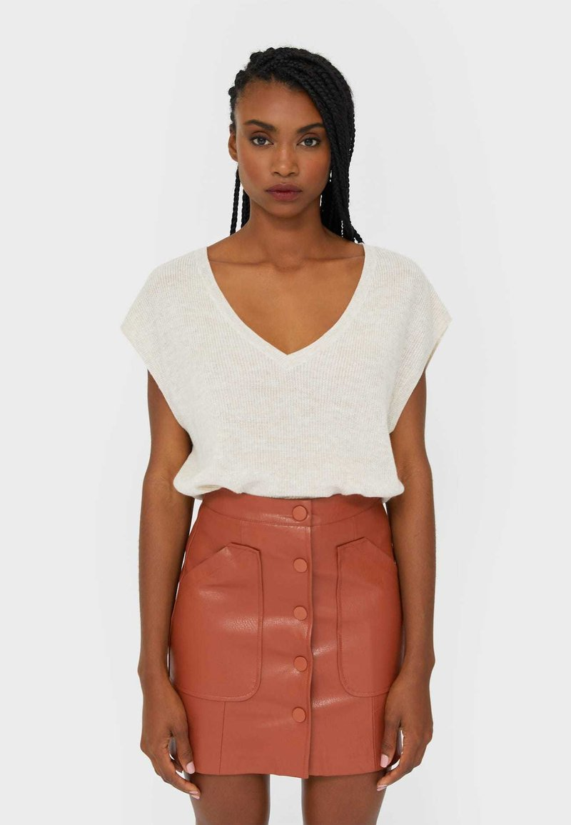 Stradivarius - Leather skirt - brown