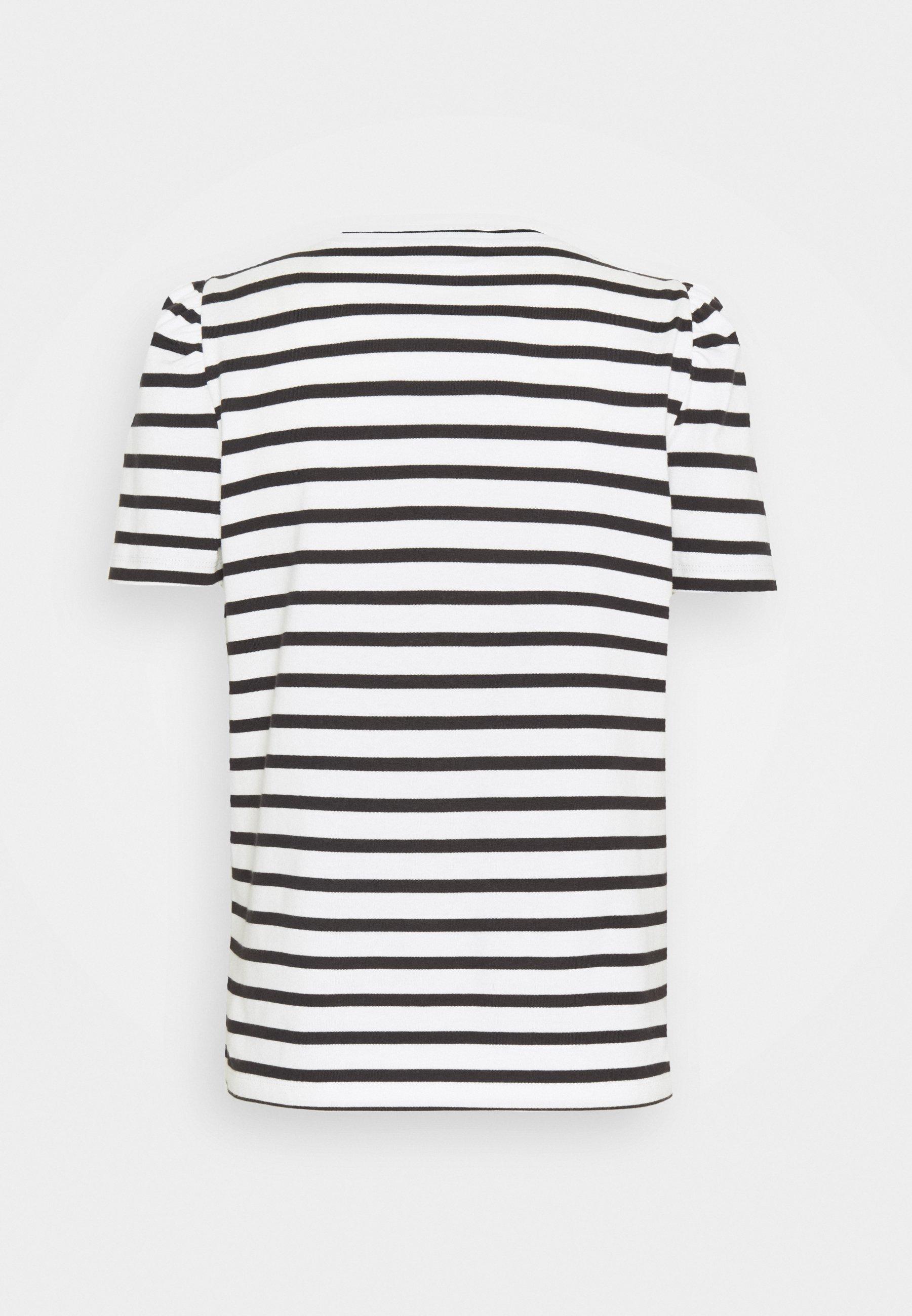 Kate Spade New York Stripe Puff Sleeve Tee - T-shirts Med Print Cream/offwhite