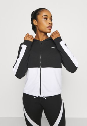 TRAINING ESSENTIALS LOGO HOODIE - veste en sweat zippée - black
