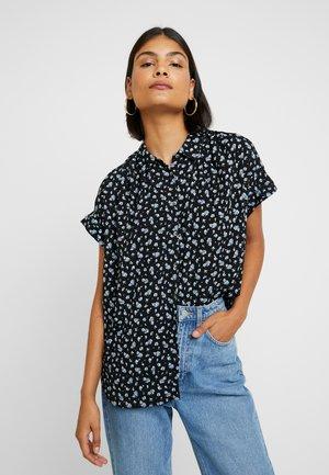 CENTRAL DRAPEY FLORAL - Button-down blouse - true black