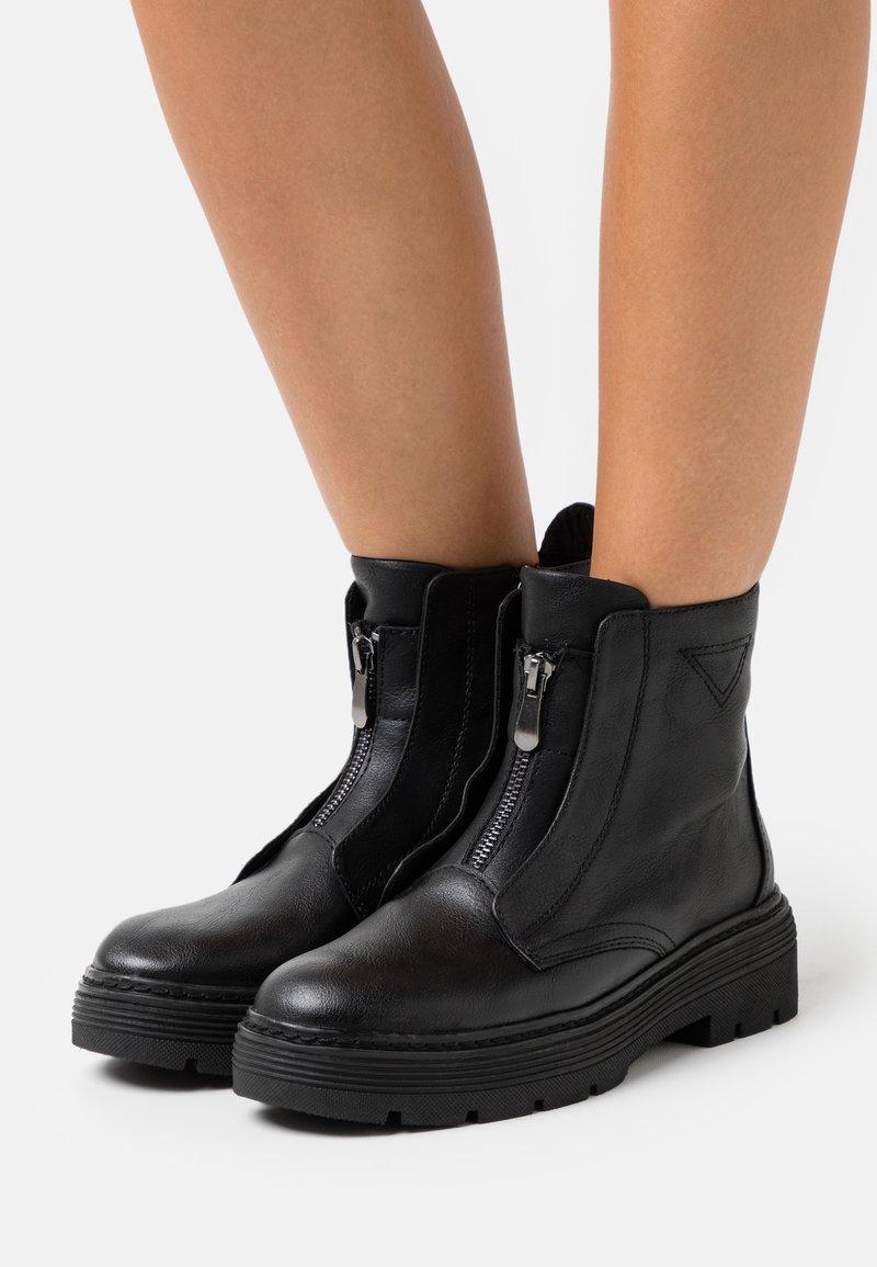Marco Tozzi - BOOTS  - Cowboy/biker ankle boot - black