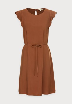 WITH RUFFLE SLEEVE - Denní šaty - amber brown