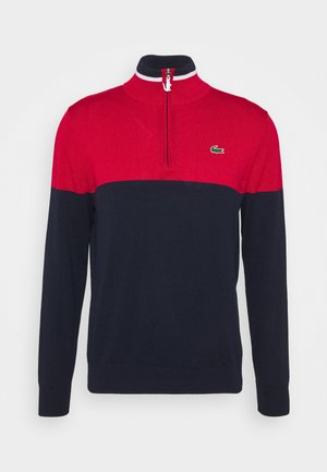 GOLF QUARTER ZIP - Jersey de punto - navy blue/ruby navy/white