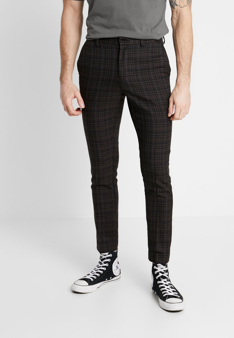 New Look - PASO HARRY GINGER HIGHLIGHT CHECK  - Pantalon de costume - dark brown
