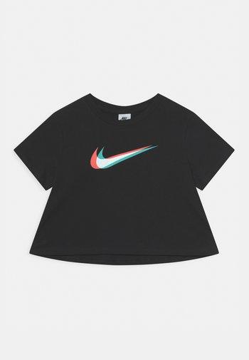 CROP TEE - T-shirt z nadrukiem - black