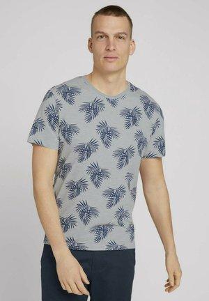 Print T-shirt - yarn dye stripe white