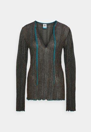 LONG SLEEVE CREW NECK - Long sleeved top - black/bronze