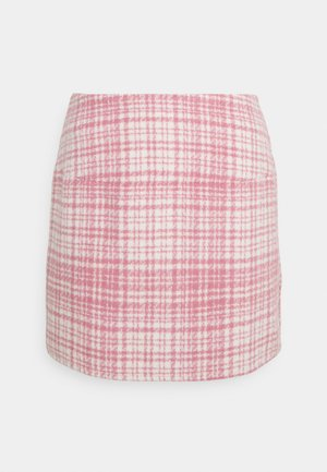 BRUSHED CHECK MINI SKIRT - Mini skirt - pink