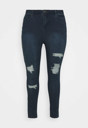 HIGH WAIST RIPPED  - Jeans Skinny Fit - indigo