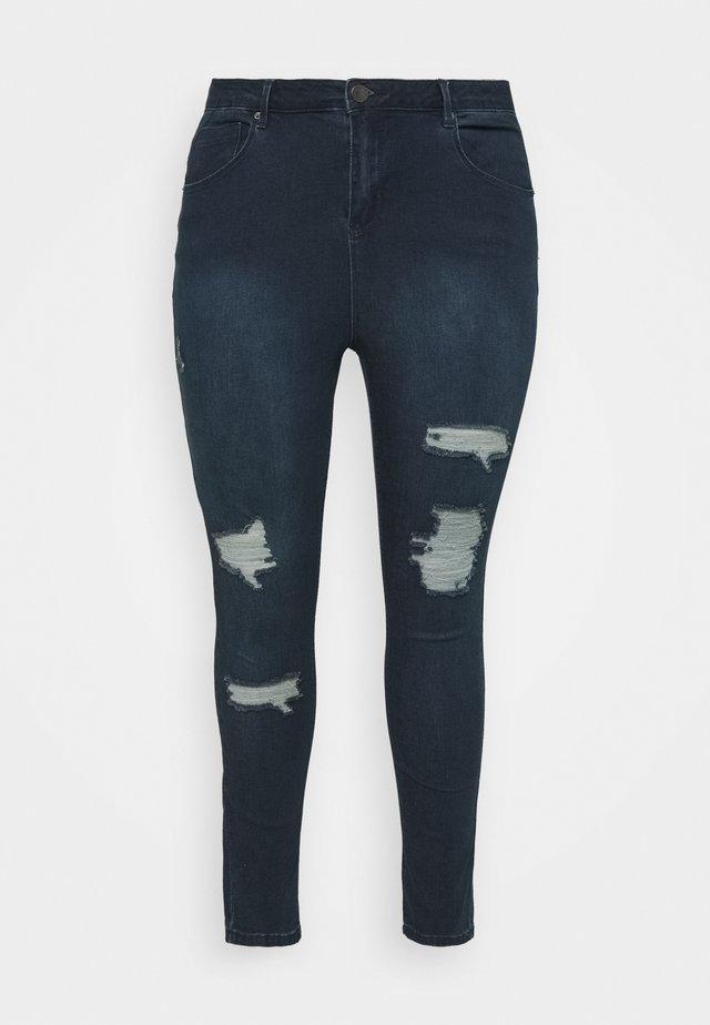 HIGH WAIST RIPPED  - Jeans Skinny - indigo