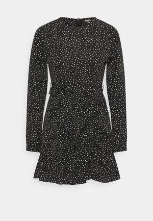 RUCHED SIDE TEA DRESS POLKA - Robe d'été - black