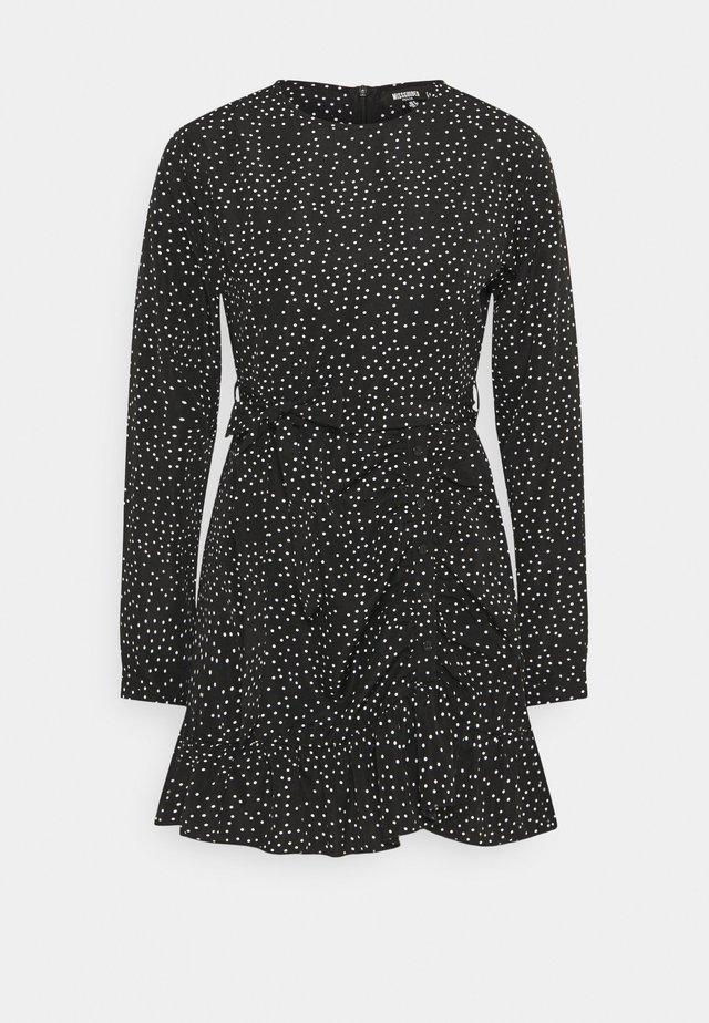RUCHED SIDE TEA DRESS POLKA - Day dress - black