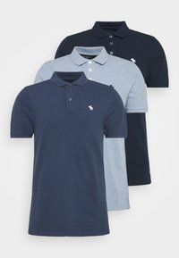 Abercrombie & Fitch - CROSS CHEST TECH 3 PACK - Piké - blue heather/bering sea/navy - 6