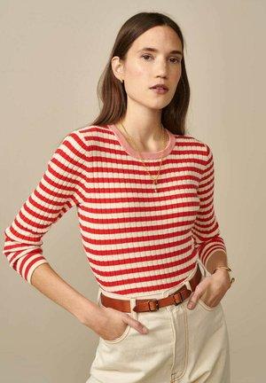 Long sleeved top - rot weiß gestreift